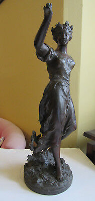 Vintage bronze statue - goddess muse nymph - 33cms