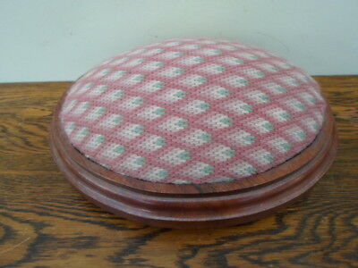 Small vintage wooden oval footstool with tapestry padded seat, top, needlework