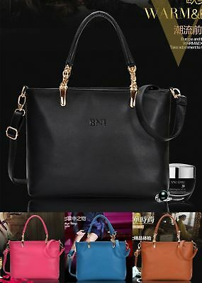 Top Grade Women Real Genuine Leather Handbag Shoulder Bag Black Tote Satchel