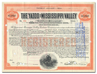 Yazoo and Mississippi Valley Railroad Company Bond Certificate (RARE)