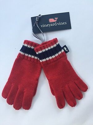 Vineyard Vines Boys Age 3 - 6 Gloves Merino Wool Red White Blue NEW with Tags