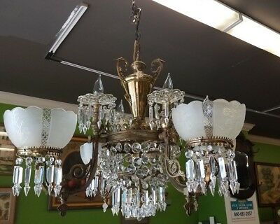 Antique Victorian Gas & Electric 8 Light Hanging Chandiler ,Prisims WE can SHIP