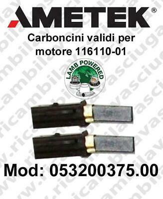 Couple carbon brush valid for vacuum motor  Lamb Ametek 116110-01. Cod: 05320037