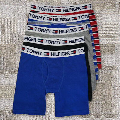5 Pack Mens TOMMY HILFIGER  Cotton Fly Long Leg Midway Boxer Brief Trunk S-3XL