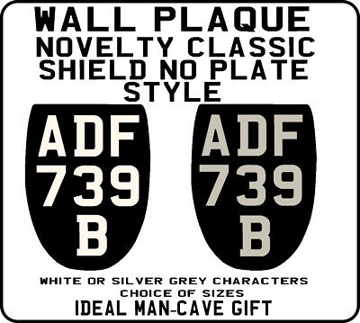 METAL PLAQUE SIGN Classic WHITE ON BLACK Number Plate style bike motorcycle gift