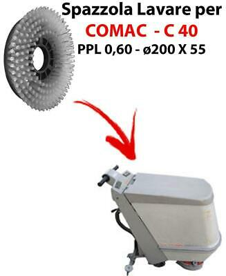 Cleaning Brush for scrubber dryer COMAC C 40 . Model: PPL 0,6 - ⌀200 X 55 mm -