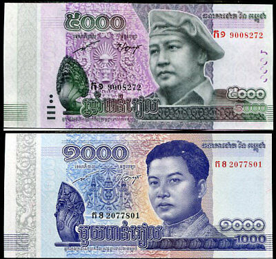 Cambodia Set 2 Unc 1000 5000 Riels 2015-2017 P New Design Comm Nr