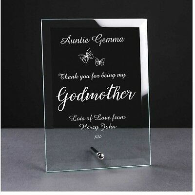 Personalised Engraved Glass Plaque Godmother Godfather Godparents Christening