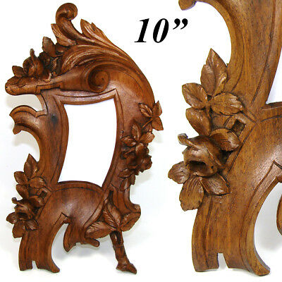 """Antique Victorian to Edwardian Era Carved 10"""" Picture Frame, Flowers & Foliage"""
