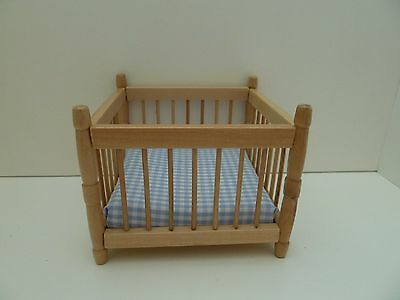Dolls House Miniature 1:12th Scale Furniture Nursery Pine Baby Playpen
