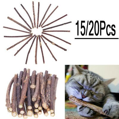 15/20pcs Cat Snacks Matatabi Chew Catnip Stick Teeth Molar Cleaning Brush Toy