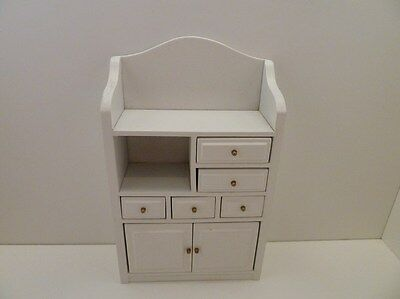 Dolls House Miniature 1.12th Scale Lounge Kitchen Bathroom White Cupboard Unit