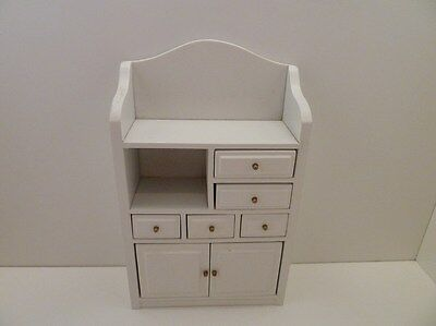 Dolls House Miniature 1.12th Scale White Cupboard Unit Lounge Kitchen Furniture