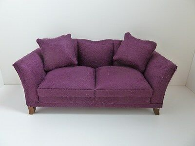 Dolls House Miniature 1:12th Scale Furniture Lounge Modern Soft Plum Sofa