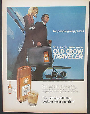 Old Crow Traveler Tuckaway Fifth 1967 Vintage Print Ad