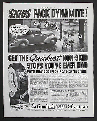 Goodrich Safety Silvertown Tire  Original 1939 Vintage Print Ad