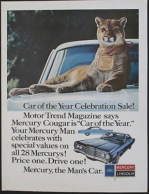 Mercury Cougar 1967 Motor Trend Car Of The Year Original Vintage Print Ad