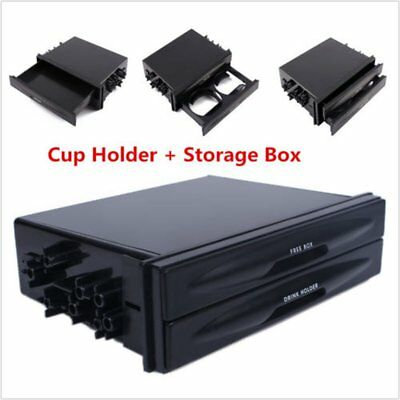 Car truck Double Din Radio Pocket Drink-Cup Holder Storage Box Black