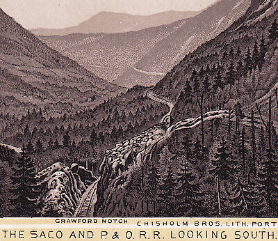Saco Valley Railroad 1890's P. & O.R.R. White Mountains Train Photo Lith Ad Card