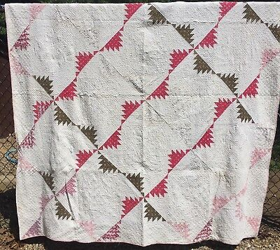 Antique 1800s Quilt ~ Cutter - Stacker - Crafts -  Sawtooth Pinwheel - As is