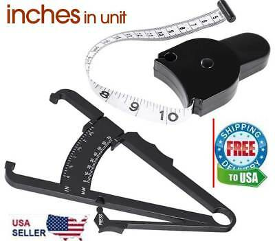 2pc Body Fat Caliper & Mass Measuring Tape Tester Skinfold Fitness Weight Loss