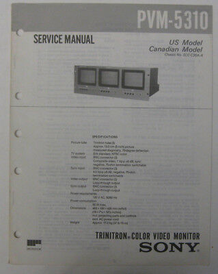Service Manual For Sony PVM-5310 Color Video Monitor