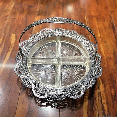 Vtg Shreve & Co Sterling Silver Basket Hors D'Oeurve Dish Glass Inserts Ornate