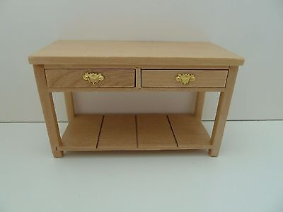 Dolls House Miniature 1:12 Furniture Kitchen Utility Wooden Kitchen Pine Table