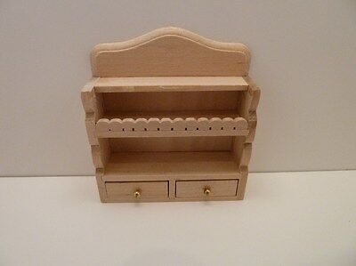 Dolls House Miniature 1:12th Scale Furniture Kitchen Wooden Bare Wood Shelf