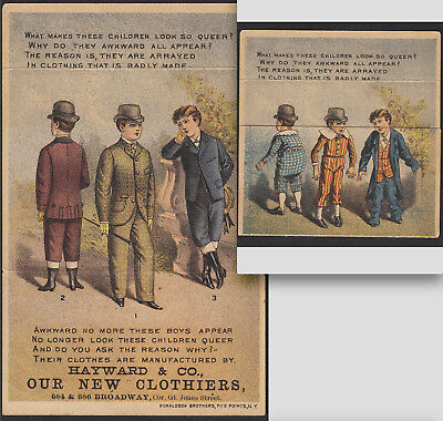 "New York ""Queer Boys"" Clothing 1880's Metamorphic poem Novelty Victorian Ad Card"