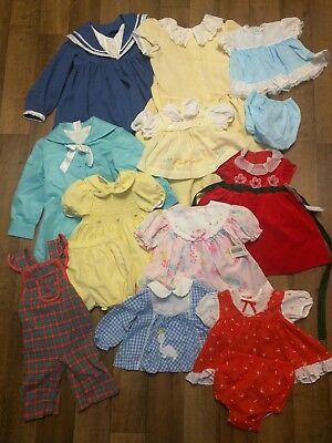 Lot Of 11 Vtg Infant Girl Clothing Items Sz 12 Month- 7x Embroidery Ruffles Lace