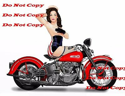 1940's Harley Davidson Motorcycle Man Cave Pinup Girl 8X10 Photo of SIGN PIC P{X