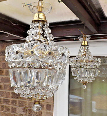 Vintage Pair Of French Basket Style Crystal Chandeliers