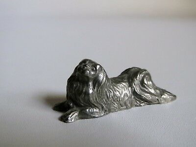VTG Dog Pewter, Lhasa Apso or Pekinese, Rawcliffe Signed P. Davis 1982 FREE SHIP