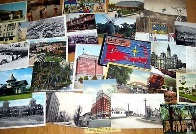 Lot of 40 Vintage postcards, Random cards from the 1910s to '80s, Original