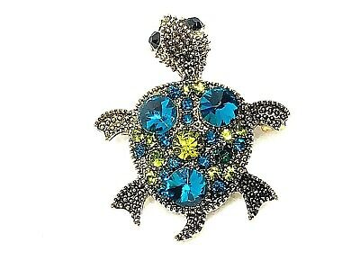 "Turtle Brooch pin teal & green rhinestones 1.25""""x1.25"" GIFT gift gold tone #1A"