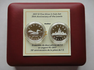 2017 Canada $1 Fine Silver 2 Coin Set - 30th Anniversary of the Loonie
