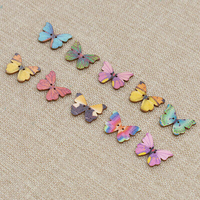 100pcs Wooden Butterfly Buttons Multicolor Two Hole Snaps DIY Craft Scrapbook