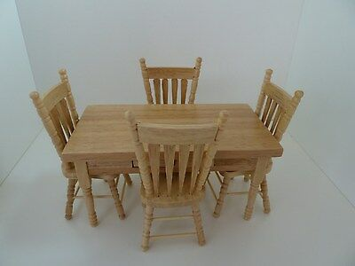 Dolls House Miniature 1:12th Scale Oak Table and 4 Chairs Kitchen Furniture
