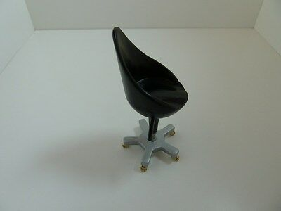 Dolls House Miniature 1:12th Scale Modern Black Swivel Chair Kitchen Furniture
