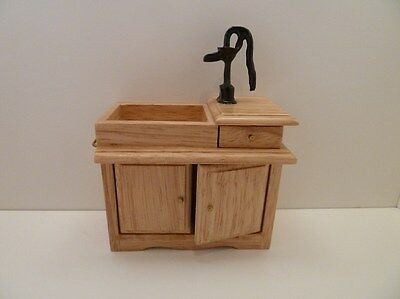 Dolls House Miniature 1:12 Scale Furniture Kitchen Victorian Pine Sink With Pump