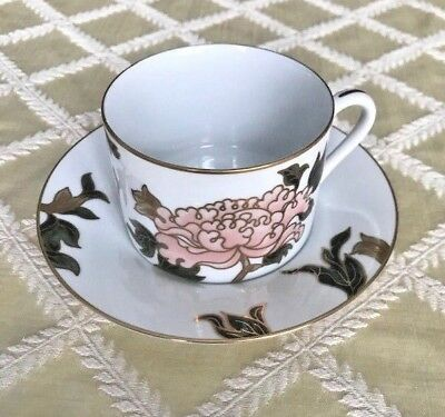 Fitz & Floyd Cloisonne Peony Replacement Cup and Saucer - White