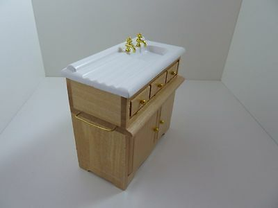 Dolls House Miniature 1:12 Scale Wood Pine Sink Unit Kitchen Utility Furniture