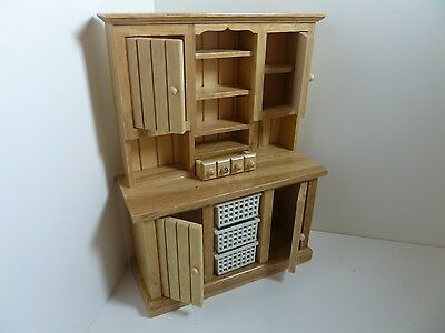 Dolls House Miniature 1:12th Scale Kitchen Dining Utility Pine Kitchen Dresser