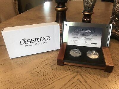 2016 Set OF 2 oz Mexico Libertad Proof In  Capsuled In Apmex Box :)