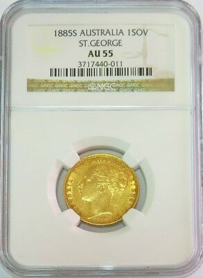 1885 S Gold Australia Dragon Slayer Sovereign Ngc About Uncirculated 55