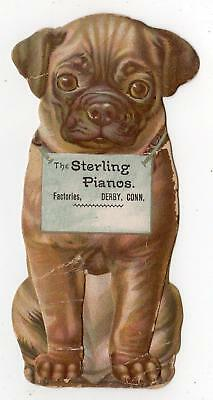 3D Pug Dog Mechanical Stand Up Trade Card*sterling Pianos*derby Connecticut*ct