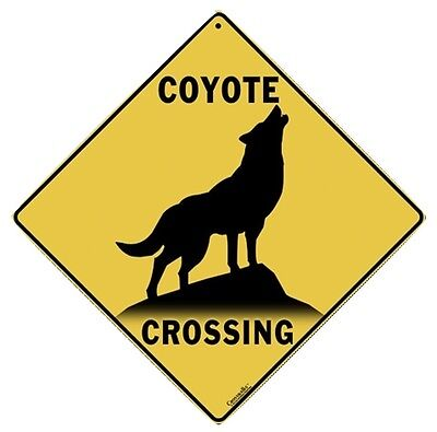 "COYOTE SILHOUETTE Crossing Sign, Metal 12"" by 12"" on sides, 16"" on Diagonal-"