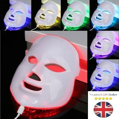 LED Photon Light Photodynamic Skin Rejuvenation Facial Neck Therapy Mask 7 Color