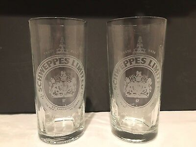 "Two (2) Elegant Schweppes Limited Glasses - 6 1/8"" Tall"